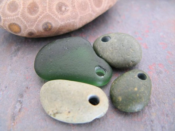 Drilled beach stones and sea glass - Greens - green beach stone and sea glass beads