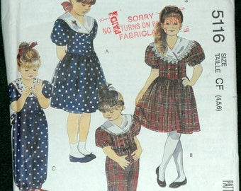 McCalls 5116 Sz 4 5 6 Childrens and Girls Dress, Jumpsuit and Headband UNCUT