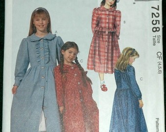 McCalls 7258 Sz 4 5 6 Childrens and Girls Dress and Petticoat UNCUT