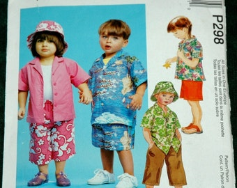 McCalls P298 Sz 1 2 3 4 Toddlers Shirt, Pull on Capri Pants, Shorts and Hat UNCUT
