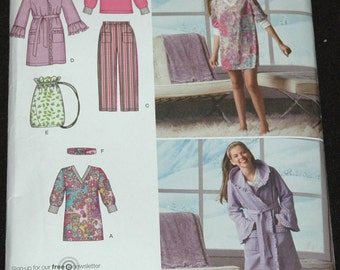 Simplicity 2749 Sz 8 10 12 14 16 Girls Pants, Robe, Headband, Bag and Knit Tunic or Top UNCUT