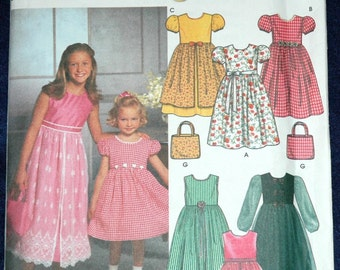Simplicity 9497 Sz 3 4 5 6 Girls Dress with Petticoat and Purse UNCUT