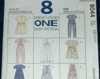 McCalls 8044 Sz 2 3 4 Girls Dress, Jumpsuit and Romper UNCUT