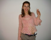 Peach and cream hand knitted girly sweater.