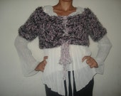 Beaded black white and pink romantic shrug