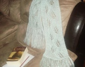 Light mint mohair lace scarf 72 by 8 inches