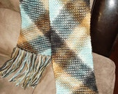 Beautiful multicolored plaid hand knitted scarf