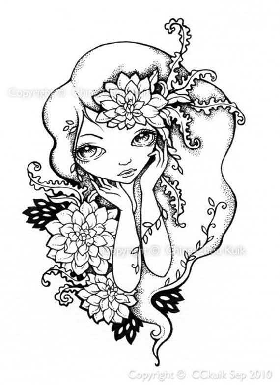 Dream of Dahlia  -   Original Black and White Illustration by CCKUIK