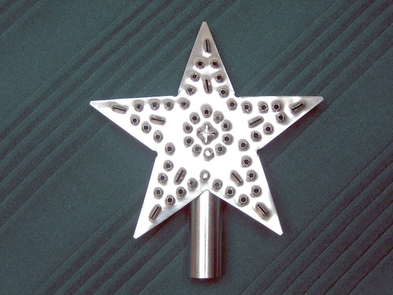Tree Top Star Small Rustic Silver Tin Punch American Made Hand Cut By West Tinworks