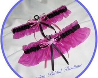Hot Pink and Black Double Heart Wedding Garter Set