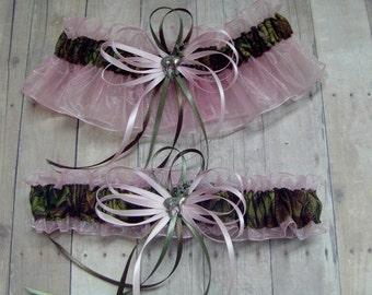 Deer Hunting Camouflage Wedding Garter Set on Pink ( Camo garter ) deer duck fish tree