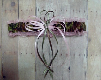 Deer Hunting Camouflage Wedding Toss Garter on Pink ( Camo garter ) deer, duck, fish