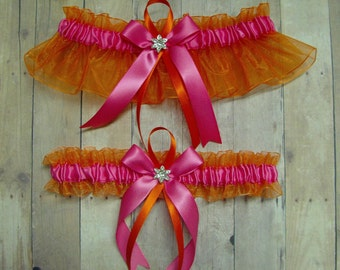 Orange and Hot Pink Wedding Garter Set