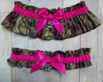 Deer Hunting Camouflage and Hot Pink Wedding Garter Set ( Camo garter ) deer, duck, fish, tree