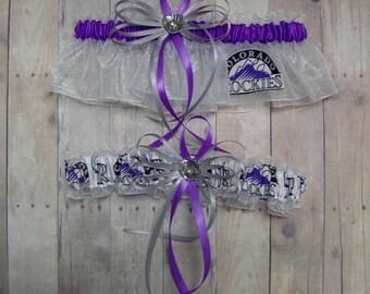 Wedding Garter Set Handmade with Colorado Rockies fabric