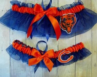 Wedding Garter Set Handmade with Chicago Bears fabric