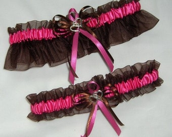 Brown and Hot Pink Double Heart Wedding Garter Set