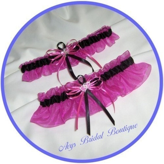 Hot Pink and Black Double Heart Wedding Garter Set