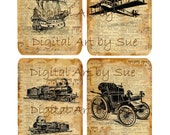 Trains Planes Boats Cars-   Digital Download - Printable  Digital Collage Sheet