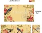 Premade Etsy Shop Set Vintage Cottage Flowers -Set of 9 Pieces -  Printable - Digital - High Quality Images