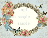 Instant Download - Victorian Boot and Frame tag -  Printable Digital Collage Sheet - Single Image