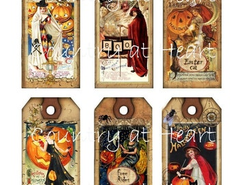 2 x 4 Inch Vintage Halloween Hang Tags - Printable Digital Collage Sheet - Images - One of a Kind