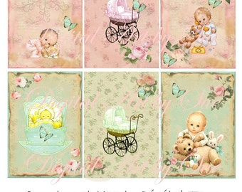 Instant Download - Newborn Baby Boy and Girl No. 812 - 2.5 x 3.5 - ACEO -    Printable Digital Collage Sheet - Digital Download
