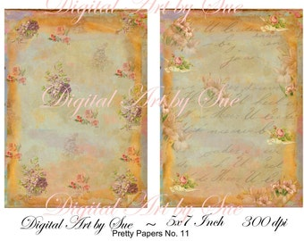 Instant Download Pretty Papers No. 11 - 5 X 7  -  Printable Digital Collage Sheet - Digital Download