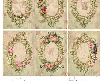 Instant Download - Antique Frames - 2.5 x 3.5 - ACEO  - Printable  Digital Collage Sheet