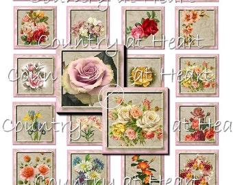 Instant Download - 1.5 Inch Squares  - Flowers-  Printable Digital Collage Sheet - Digital Download