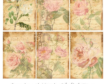 INSTANT DOWNLOAD - Vintage Rose - 2.5 x 3.5 - ACEO  - Collage Sheet - Printable Download - Gift Tags - Scrapbook