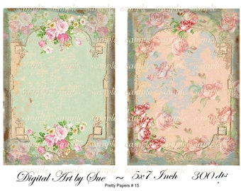Instant Download - Pretty Papers No. 15 - 5 X 7  -  Collage Sheet - Printable Download - Gift Tags - Scrapbook