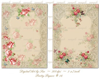 Instant Download  Pretty Papers No. 16 - 5 X 7  -  Printable Digital Collage Sheet - Digital Download