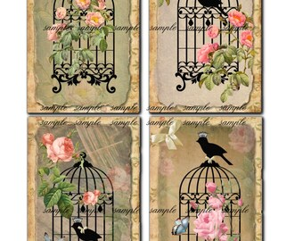 Instant Download - Bird Cage- 3 X 5  -  Collage Sheet - Printable Download - Gift Tags - Scrapbook