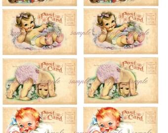 Instant Download - Baby Postcards- ACEO -  Printable Digital Collage Sheet - Digital Download
