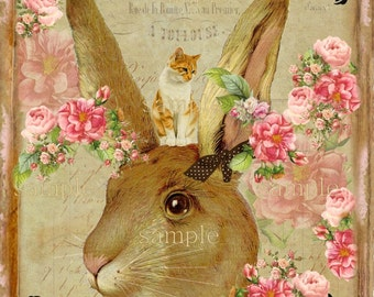 INSTANT DOWNLOAD- Vintage and Shabby Rabbit -  Printable Digital Collage Sheet - Printable Download - Gift Tags - Scrapbook