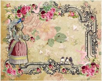 No. 3344-  Printable Digital Collage Sheet - printable download - Marie Antoinette