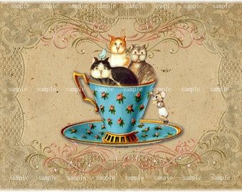 Instant Download - Whimsical Teacup Kitties -  Printable Digital Collage Sheet - Single Image