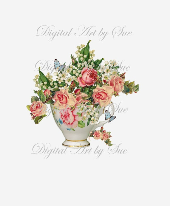 Instant  Download - Tea and Roses-  Large Image-   Printable Digital Collage Sheet - Digital Download