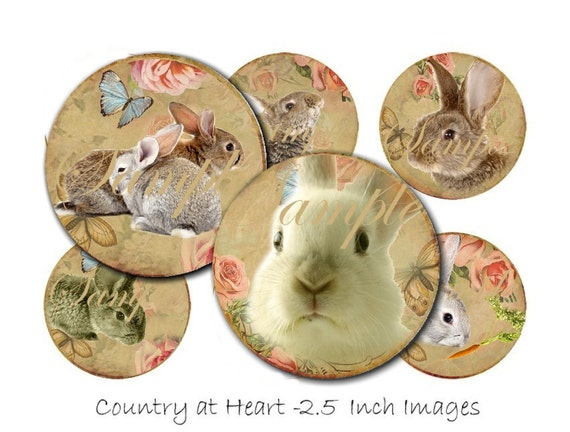 INSTANT DOWNLOAD  - 2.5 Inch Rabbits No. 2 - Great For Pocket Mirrors - Collage Sheet - Printable Download - Gift Tags - Scrapbook