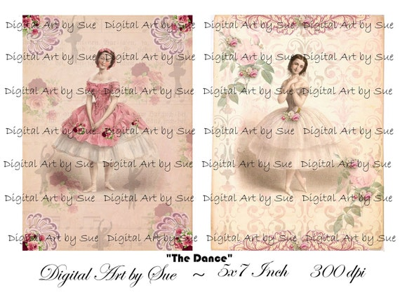 Instant Download  -Instant Download  - The Dance - 5 X 7  -  Printable Digital Collage Sheet - Digital Download