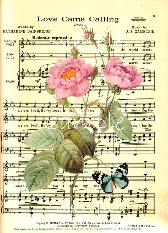 instant download single image vintage music sheet with roses
