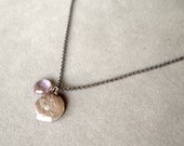 purple coin pearl and pink amethyst on oxidized sterling silver chain by rockedjewelry
