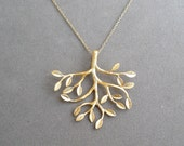 gold tree pendant necklace on gold chain