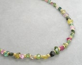 necklace with tourmaline rough nuggets by rockedjewelry