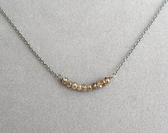 necklace with 2 cm brown champagne diamond beads on oxidized silver chain