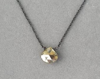 pyrite and oxidized silver necklace by rockedjewelry