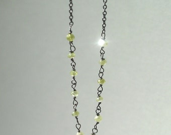 necklace with yellow diamond bead chain by rockedjewelry
