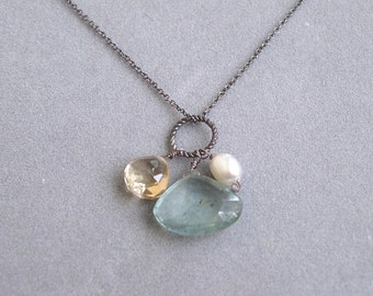 necklace with moss aquamarine citrine pearl charm by rockedjewelry