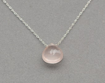rose quartz necklace pendant on sterling silver chain